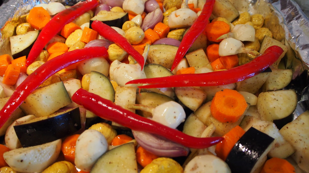 roasted vegetable in coconut oil