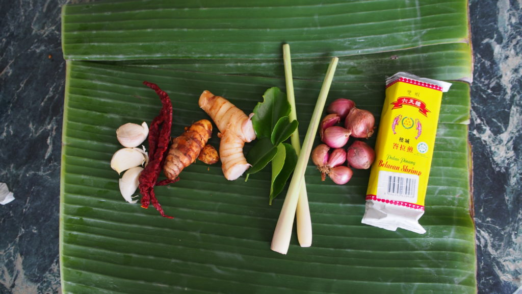 (l-r) garlic, dried chilies, turmeric, galangal, kaffir lime leaves, lemongrass, purple shallots and belachan on top of a banana leaf