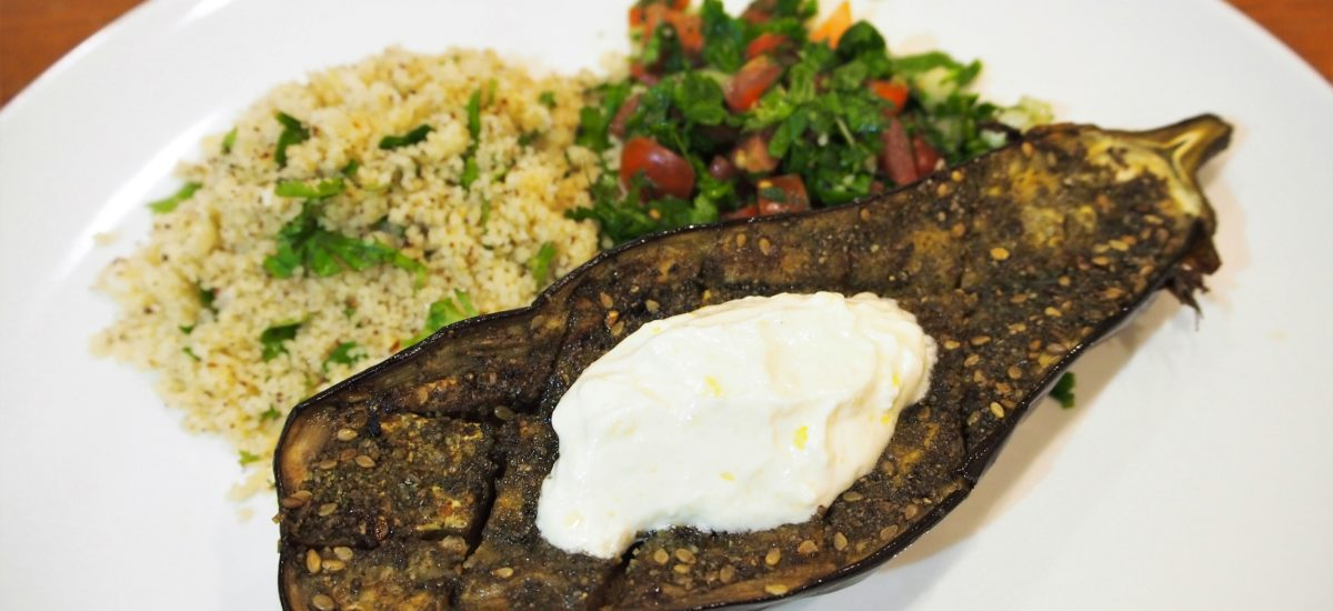 Roasted Za'atar Spiced Eggplant with Labneh
